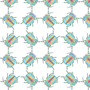 Rainbow Beetle Watercolor Cluster
