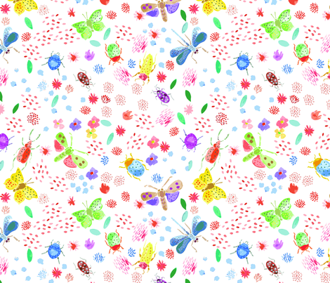 WATERCOLOR_INSECTS fabric by yasminah_combary on Spoonflower - custom fabric