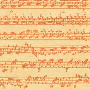 Bach's handwritten sheet music - seamless, orange creamsicle