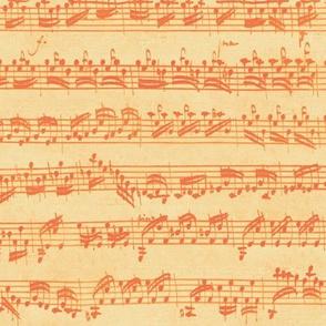 Bach's handwritten sheet music - seamless, orange creamsicle
