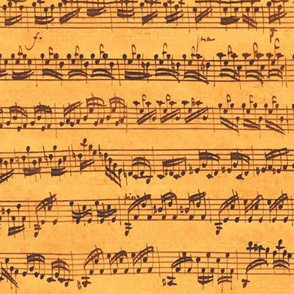 Bach's handwritten sheet music - seamless, sunrise copper and gold