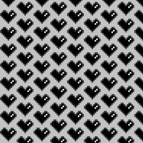 Pixel Heart (Black on Grey, 0.95 inch)