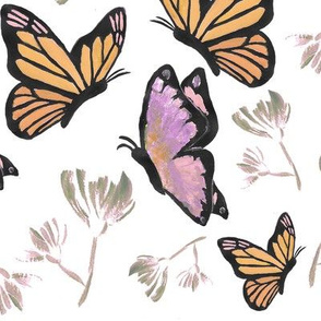Watercolor Butterfly Painting (Rose, Orange, Olive Green)
