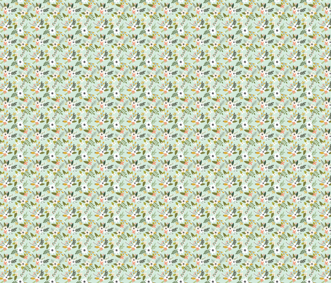 mint sprigs and blooms // small fabric by ivieclothco on Spoonflower - custom fabric