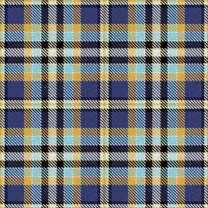 Blue Yellow Aqua Black and White Plaid
