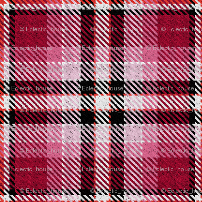 Red Pink Black and White Plaid