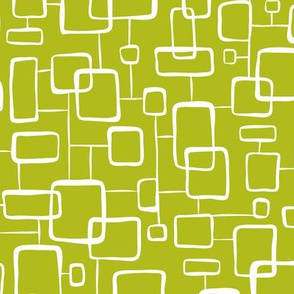 On The Quad - Retro Geometric Green Citron