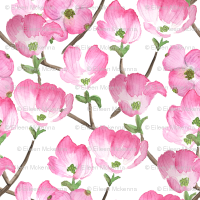 Pink Watercolor Dogwood Flowers