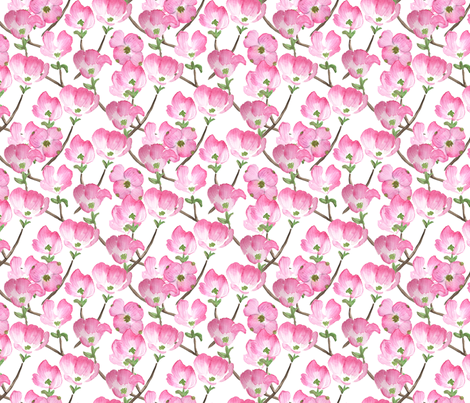 Pink Watercolor Dogwood Flowers fabric by eileenmckenna on Spoonflower - custom fabric
