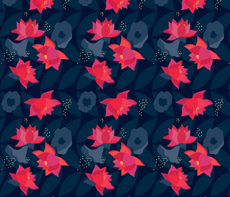 Midnight Flowers 01 fabric by stefaniapochesci on Spoonflower - custom fabric