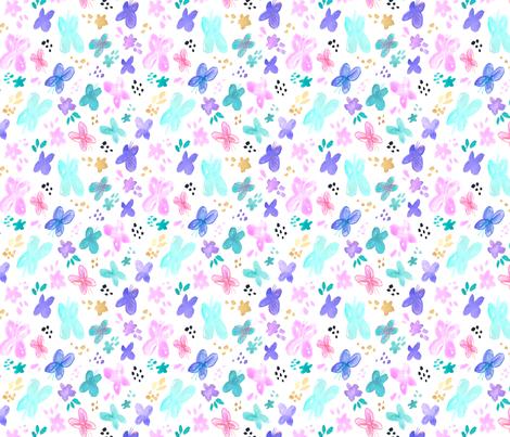 Garden Butterflies in Pastel Colors fabric by minikuosi on Spoonflower - custom fabric