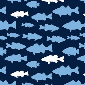 fish || carolina blue on navy
