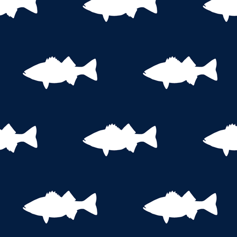 fish on navy fabric by littlearrowdesign on Spoonflower - custom fabric