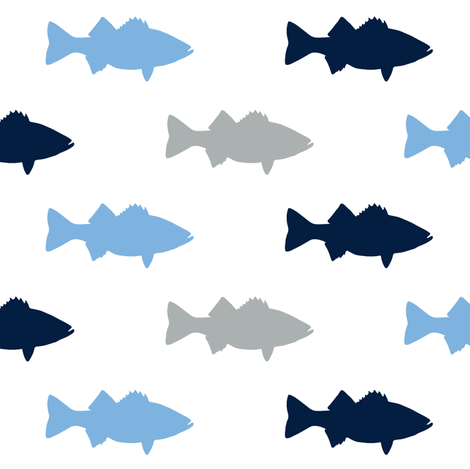multi fish || Carolina blue fabric by littlearrowdesign on Spoonflower - custom fabric