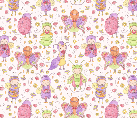 Little whimsical bugs fabric by lauraflorencedesign on Spoonflower - custom fabric