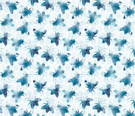 bee_watercolor_pattern fabric by kimjohnsonstudios on Spoonflower - custom fabric