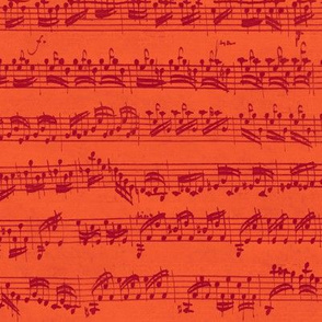 Bach's handwritten sheet music - seamless, ruby on vermilion