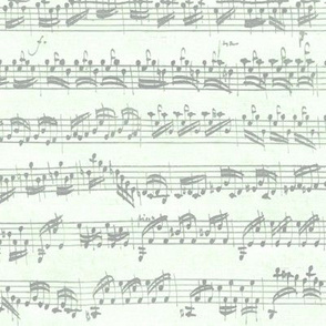 Bach's handwritten sheet music - seamless, grey on cucumber