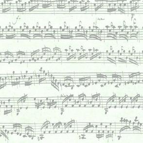 Bach's handwritten sheet music - seamless, grey on cucumber
