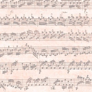 Bach's handwritten sheet music - seamless, grey on peach