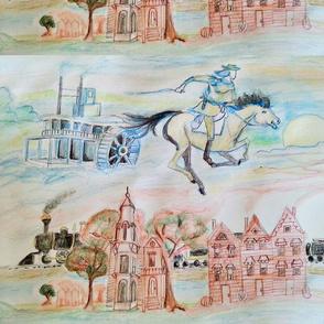 Large Watercolor cityscape