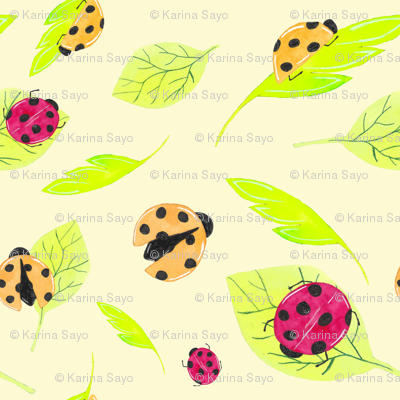 Watercolor lady bugs and leaves