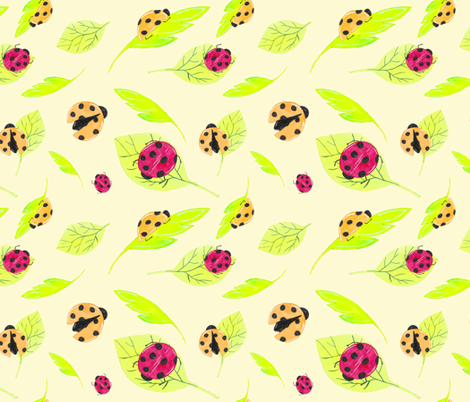 Watercolor lady bugs and leaves fabric by kslittleworld on Spoonflower - custom fabric