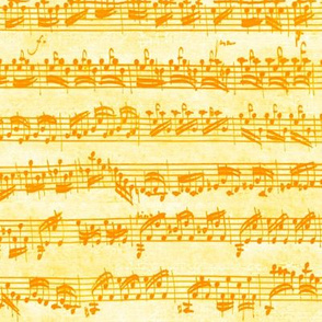 Bach's handwritten sheet music - seamless, saffron and gold