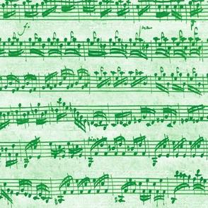 Bach's handwritten sheet music - seamless, candycane green