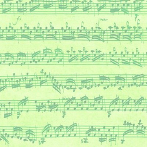 Bach's handwritten sheet music - seamless, bright light green