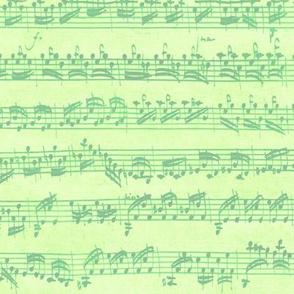 Bach's handwritten sheet music - seamless, bright light green