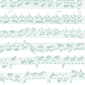 Bach's handwritten sheet music - seamless, light teal