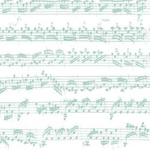 Bach's handwritten sheet music - seamless, light teal