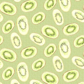 Watercolor Kiwi  Linen Fruit Summer Lime Green Garden_Miss Chiff Designs