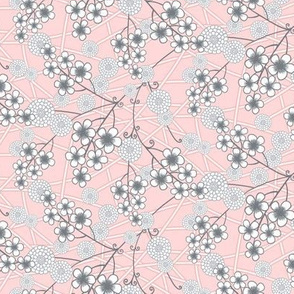 Pink and Gray Nursery Floral Print