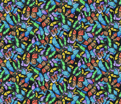 Colorful Watercolor Butterfly Pattern fabric by robin_bobbin on Spoonflower - custom fabric