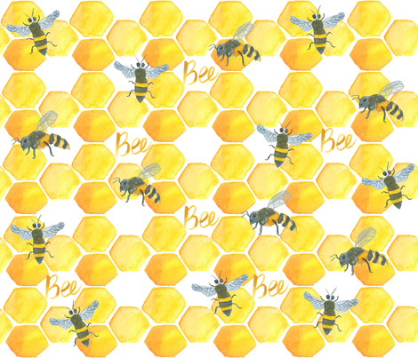 Honey Bee fabric by lilymorgan on Spoonflower - custom fabric