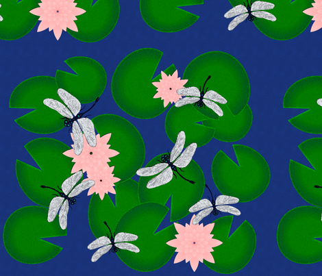 Watercolour Dragonflies and Waterlillies fabric by fatcat_designs on Spoonflower - custom fabric