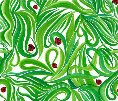 Grass & Ladybug fabric by ed_designs on Spoonflower - custom fabric