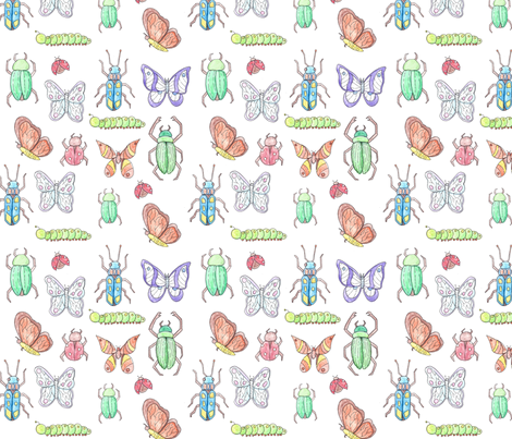 Beetles & Butterflies  fabric by svaeth on Spoonflower - custom fabric