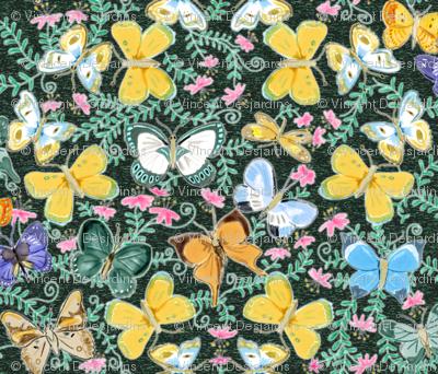 Watercolor Butterflies on Green