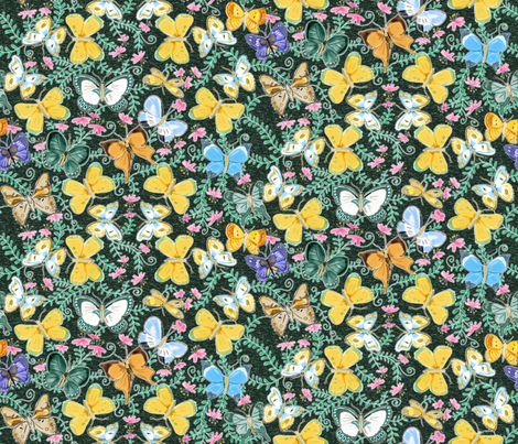 Watercolor Butterflies on Green fabric by vinpauld on Spoonflower - custom fabric
