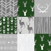 Wholecloth Quilt- John Deere Dark Green and Grey Deer-ch-ch-ch-ch-ch-ch
