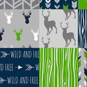 """8"""" squares Patchwork deer with Seahawks Green"""