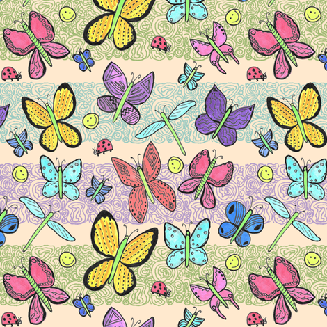Watercolor Imaginary Butterflies fabric by palifino on Spoonflower - custom fabric
