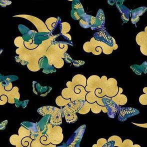Watercolor Exotic Butterflies Black