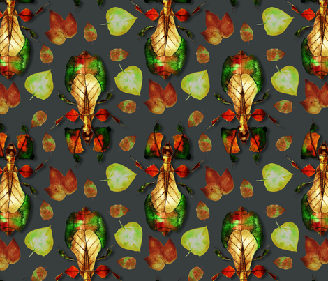Whimsical_Walking_Leaf_Insect fabric by tretyak_ol on Spoonflower - custom fabric