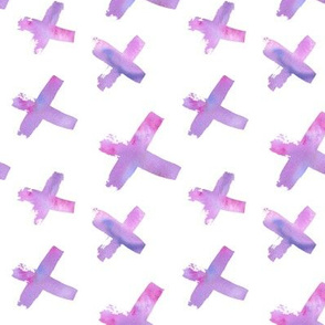 Pink and Purple Watercolor Abstract Crosses Pattern