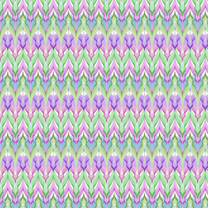 Zigzag green , lilac and pink tones .