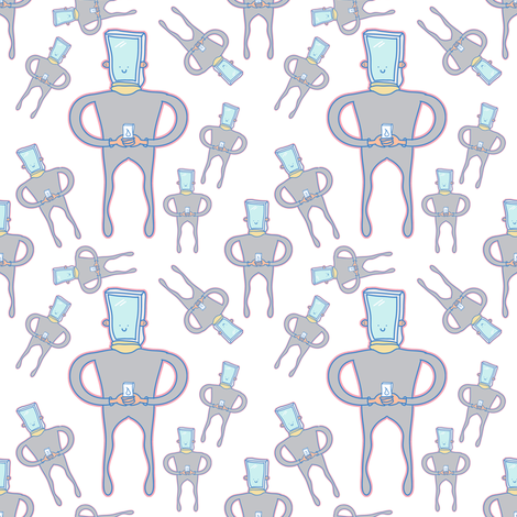 Mr smartphone robot  fabric by outshop on Spoonflower - custom fabric